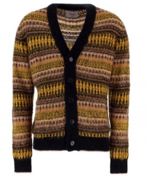 Cardigan giallo\marrone in lana jacquard. scollo a V di Lucques.