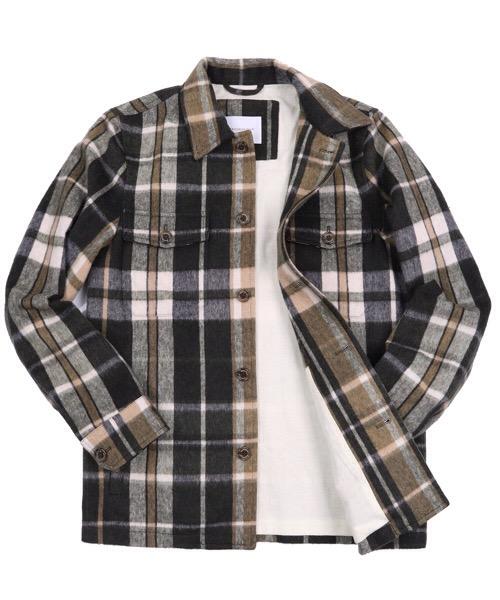 Giacca modello work, flanella misto lana, maxi check, foderata Brooksfield